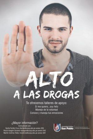 afiche mailing alto a las drogas