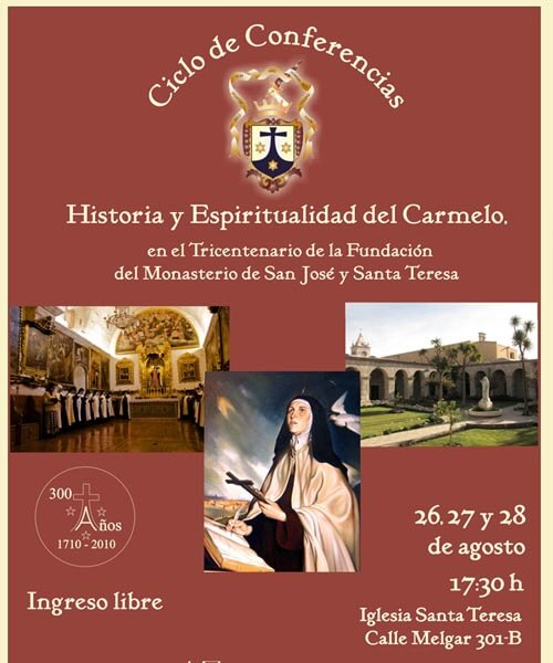 29. Afiche Ciclo de conferencias Historia y espiritualizad del Carmelo evento agosto 2010
