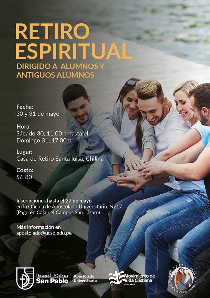 banner afiche retiro espiritual mayo