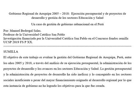 Informe Gobierno Regional 2015 2018